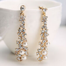Women Lady's Chic Elegant Pearl Rhinestone Dangle Chandelier Earrings Jewelry