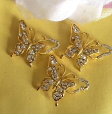 """3 GOLD TONE 1.75"""" CUT-OUT BUTTERFLY DIAMANTE RHINESTONE CRYSTAL BROOCH PINS"""