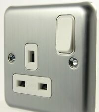 MK Albany Plus  Single Socket- K2958 MCO Matt Chrome 13A Switched Socket New
