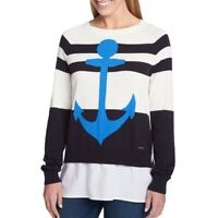 TOMMY HILFIGER Women's Cotton Woven Striped Crewneck Sweater Top TEDO