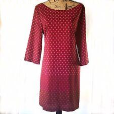 Old Navy Sheath Dress Size Large Pink Polka Dot Ombre Long Sleeve Knee Length