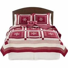 Home Classics KING Nicholas QUILT Snowflake RED WHITE NWT