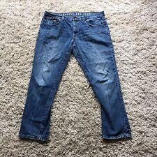 Converse Whiskered Jeans Distressed Blue Denim Slim Straight Leg Size 38 30