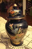 Gosu Iris TOYO Japan covered black urn hand decorated[52b]