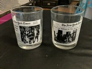 Wendy's New York Times Newspaper Image Glass Tumblers set of 2