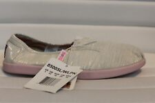 Skechers BOBS Kids World White Silver Slip On Shoes Sneakers Girls MSRP $40 NEW