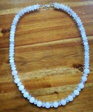 "Rose Quartz Necklace, Sterling, 20""  USA359"