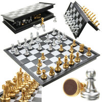 Wood Chess Magnetic Board Hand Crafted Folding Chessboard Portable Travel Game