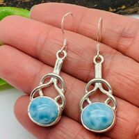 LONG GENUINE Dominican Larimar  Stone Earrings 925 Sterling Silver Hooks P54