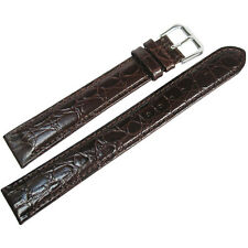 20mm deBeer Mens Extra Long XL Brown Alligator-Grain Leather Watch Band Strap