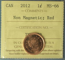 Canada 2012 Penny (Cent) - Graded by ICCS MS-66 (Red) - Non-Magnetic