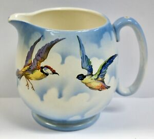 Lovely Vintage Lancaster & Sons Jug, Colourful Birds In A Blue Sky With Clouds