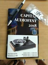 Collectible VPI turntable keychain and Pen + Capital Audiofest Brochure with pic