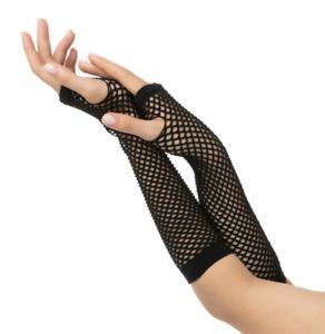Black Fishnet long Gloves Mesh Punk goth Rock 80s Style Fancy Dress