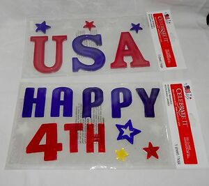 Gel Clings 4th Of July Celebrate It 2ea Reusable Washable Happy 4th & USA 45H