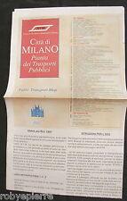 Cartina mappa pianta dei trasporti pubblici di Milano Milan Italy Guide Map 1997