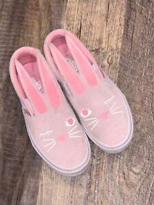 VANS Old School Bunny Rabbit Pink slip on Sneakers  Easter Sz 2.5 Girls Youth