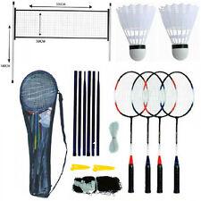 Badminton Professional Set 4 Player Racket Shuttlecock Poles Net Bag Game Kids
