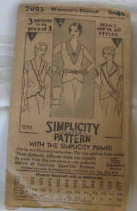 Vintage Simplicity Womens Blouse Sewing Pattern  # 7093