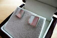 925 STERLING SILVER MOTHER OF PEARL SQUARE STUD BUTTERFLY BACK EARRINGS