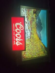 Vintage Coors Beer Rolling River Motion Lighted Sign 1960's Neon Tavern Bar READ