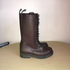 Dr Martens Size 3 Boots 14 Hole/Eyelets Rubber Burgundy