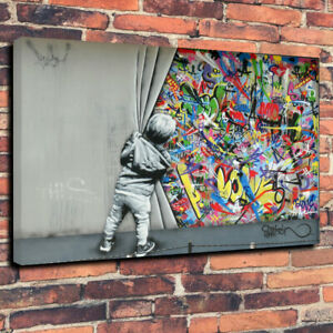Banksy Style, Boy Pulling Back The Curtain Printed Canvas Picture Multiple Sizes