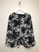 Womens Talbots Blouse Shirt Top Plus Size 3XP Black White Tie Button Front Sleev