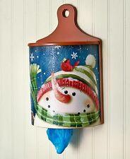 Snowman Bag Dispenser Grocery Bag Holder Red Cardinals Winter Kitchen Decor