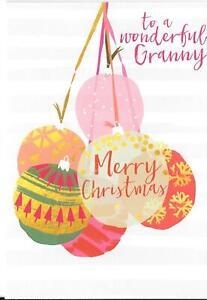CHRISTMAS CARD TO A WONDERFUL GRANNY - CHRISTMAS BAUBLES
