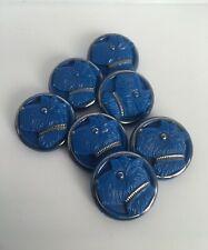 More details for rare set of 7 vintage scottie dog blue glass buttons 1950s
