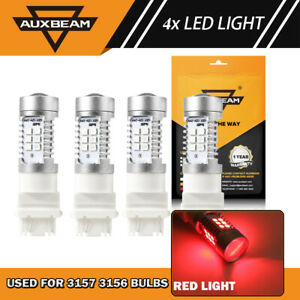 AUXBEAM T25 3157 3057 3156 Super Red LED Reverse Signal Brake Tail Light Bulbs