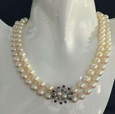 Wertvolle  Perlenkette mit 1 Verschluss in 585er Weißgold +Rubine + Brillanten