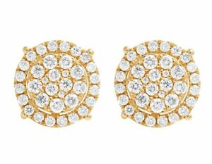 Ladies 14K Yellow Gold Genuine Diamond Round Cluster Studs Earrings 1.0CT 9MM