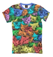 Psy acid cats t-shirt - all over printed kitty tee colorful  kitten print