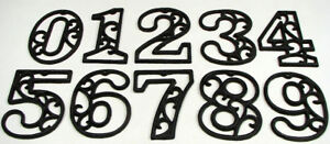 Set of 5 Cast Iron House Address Numbers 0-9  Rustic Brown Ornate USA SELLER