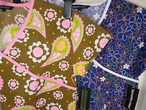Brown & Pink  or Blue Flowers  Ladies Scrub Top Size XS or S NWOT