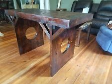 rustic rural wooden dining table/ kitchen island made from pine.