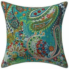 "Handmade Paisley Sofa Cushion Cover Kantha Pillowcase Cover Decor 16"" Throw"