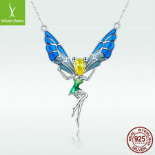 Colorful Enamel Fairy S925 Sterling Silver Women Pendant Necklace Lovely Style