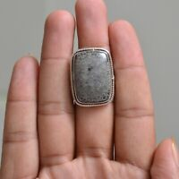 Handmade 925 Solid Sterling Silver Jewelry Gemstone Solitaire Ring Size 9.5