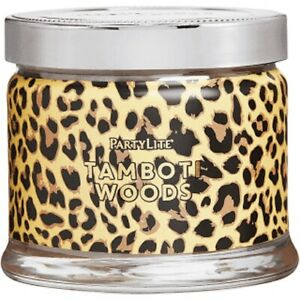PARTYLITE 3-Wick Jar - Tamboti Woods ANIMAL PRINT SLEEVE   **BRAND NEW IN BOX**