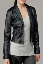 NWT Ladies 7 For All Mankind Washed Leather Blazer Jacket in Indigo M $545