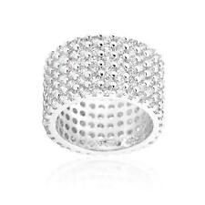 22.5 Ct Clear CZ Round Cut Silver Pave Wide Eternity Cocktail Ring Band Size 10