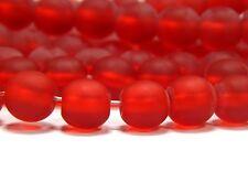 135 Stck kleine Milch Glas Perlen gefrostet matt satiniert rund rot braun 6 mm