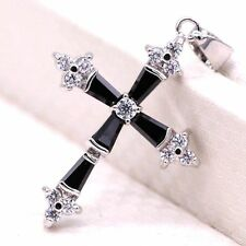 Crystal Cz 18K Gold Plated Pendant Bride Women Jewelry Party Cross Black