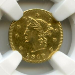 Low Mintage 1849 RD LIB ONE British Columbia Canada Gold / NGC G&L-335 MS64 R7