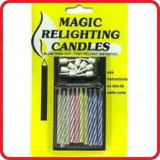 FUNNY MAGIC RELIGHTING CANDLES-PACK OF 10-BIRTHDAY PARTY-COSTUME~NEW
