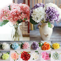 6 Heads Artificial Silk Fake Flowers Wedding Bouquet Bridal Hydrangea Decor Hot