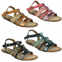 SALE F0R770 SAVANNAH LADIES FLAT ANKLE STRAP BUCKLE CASUAL SUMMER SANDALS SIZE